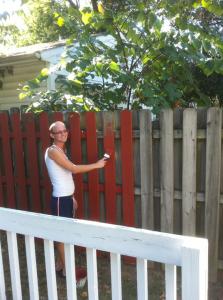 שלב ג' ואחרון: גדר אחורית, לא ממש רואים אותה, אבל אני יודעת שהיא שם.  מדגמן צביעה: ג'ף, החבר של השותף שלי.
